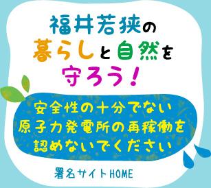 福井若狭の暮らしと自然を守ろう!安全性の十分でない原子力発電所の再稼働を認めないでください(署名サイトHOME)